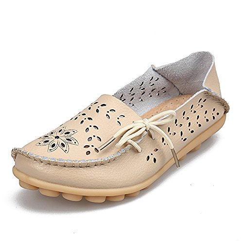 fereshte Womens Genuine Leather Cutout Casual Loafers Slip-on Slippers Driving Flat Shoes for Mother Beige Z5jE9