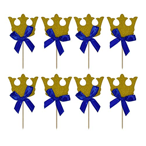 HZOnline Gold Crown Cupcake Toppers With Blue Ribbon