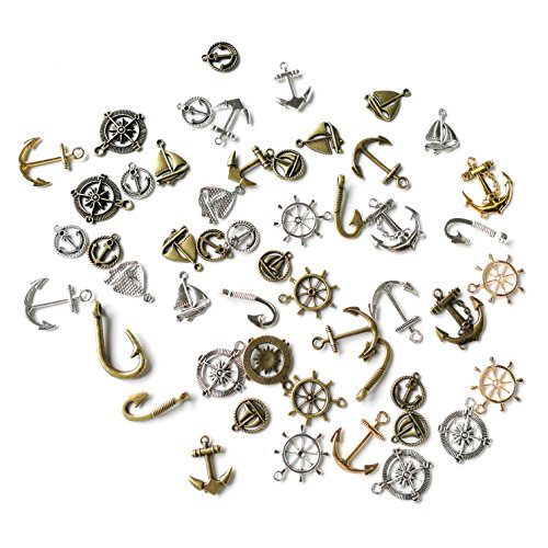 Sumje 100 Grams Assorted Nautical Anchor Rudder Helm Compass Punk Steampunk Charm Pendant Connector for Sailor Navy DIY Ornaments Making Accessories (Anchor Style)