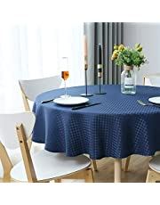 WELTRXE Duk, rutig bordsduk av polyester lotuseffekt, fläckskydd bordsdekoration tvättbar bordsduk lättskött bordsduk, 150 cm rund marinblå valbar fest