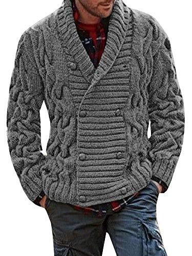 Bbalizko Mens Ribbed Knit Chunky Cardigan Double Breasted Shawl Collar Sweater Jacket Grey