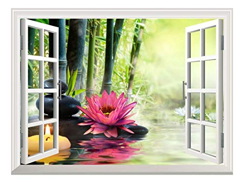 Removable Wall Sticker Wall Mural Massage in Nature Lily Stones Bamboo Zen Concept Creative Window View Wall Decor
