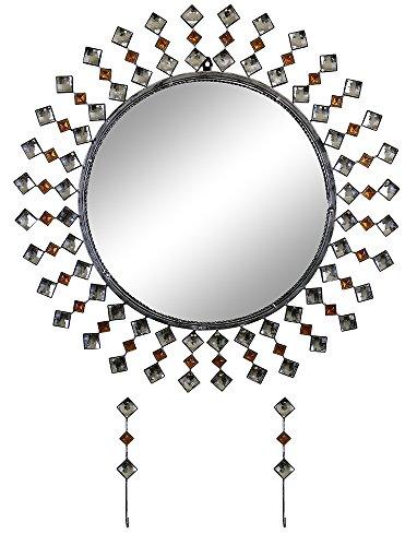 Swarovski Wall Mirror - GIFTS PLAZA (D) Modern Round Wall Mirror with Key Chain Holders and Swarovski Crystal