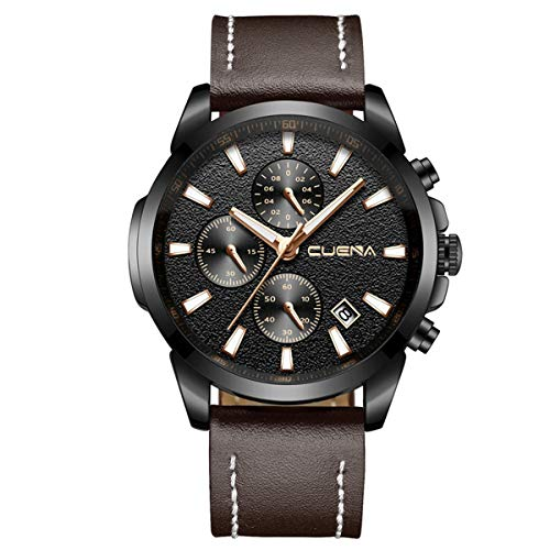CUENA Mens Analog Quartz Wrist Watch, Men Chronograph Date Watch with Brown Leather Band Waterproof 30M - Analog Integrated