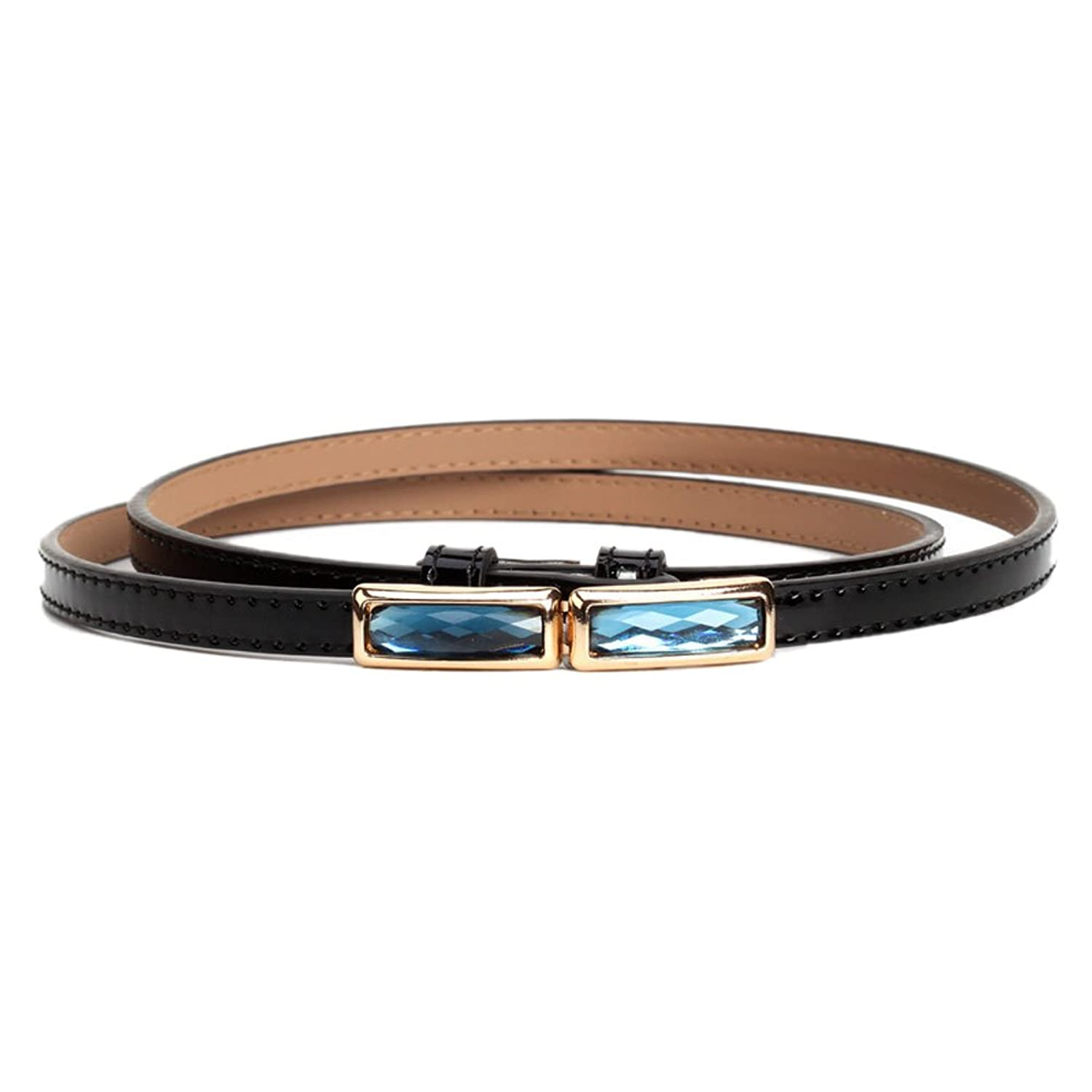 Mlotus Metal Accents Faux Leather Womens Fashion Skinny Waist Belt for Dress