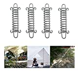 Camping Tent Spring Buckle Set By Garloy,4 Pcs Heavy Duty Stainless Steel Awning Rope Tensioner,Ideal for Tarps, Tents, Wire Racks, and Other Camping Accessories,Especially Suitable for Beach and Stro