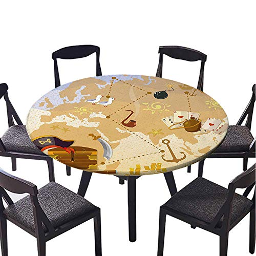 SATVSHOP Modern tablecloth-60 Round-Indoor or Outdoor Party,Island Map Pirate Treasure Map Sea with Captain Hat Coins and Sailing Boat Mystical Marine Theme Blue Tan.(Elastic Edge) (Mystical Boat)