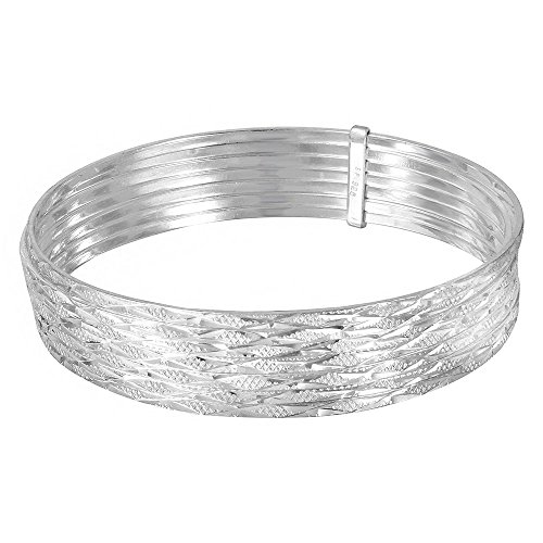 (CloseoutWarehouse Sterling Silver High Polished Criss Cross Diamond Cut Semanario Bangle Bracelet)