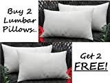 Set of 2 - Indoor / Outdoor Decorative Lumbar / Rectangle Pillows + 2 Free - Solid Ivory