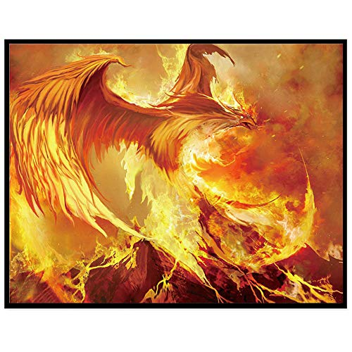 Rakkiss 5D Diamond Painting Rhinestone Fantasy Flaming Phenix Volcanic Embroidery Wallpaper DIY Cross Stitch Kit Crystal Full Drill Drawing for Adult Tools Home Decoration 30x25cm White