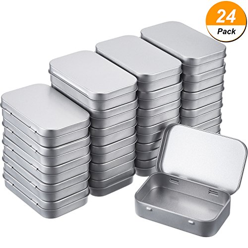 Shappy Silver Metal Rectangular Empty Hinged Tins Box Containers Basic Necessities Tins Mini Portable Box Small Storage Kit Tin Holders Box Set, Home Organizer, 3.75 by 2.45 by 0.8 inch (24 Pack)