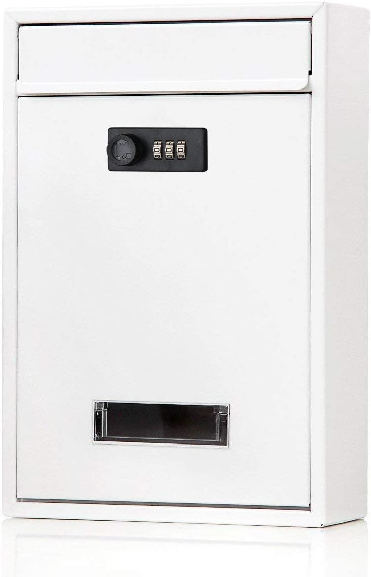FFDCC Security Letterboxes Wall-Mount Mailbox Cabinet Door Metal Security Cam Lockable 3 Digit Code Combination Cam Lock,White