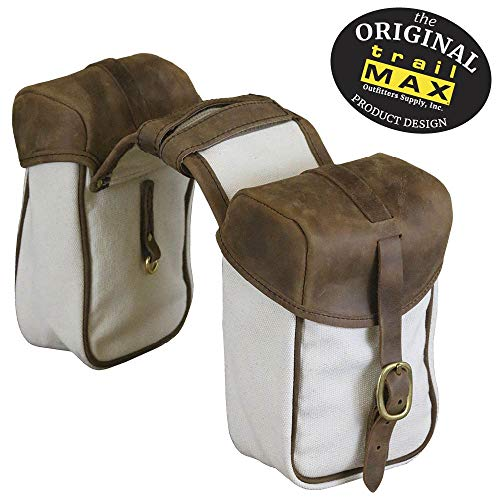 TrailMax Canvas & Leather Pommel/Horn Horse Saddle-Bags for Trail Riding, Premium Leather & Rugged Canvas with Brass Hardware, Heavy Leather Straps & Leather Piping, Fits Western or Endurance Saddle