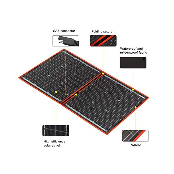 51GztStmEWL Dokio 80 Watt Solartasche Faltbares Mobiles Solar-Panel Mit Effektivsten Monokristallinen Zellen,Solar-Laderegler(2 Usb…