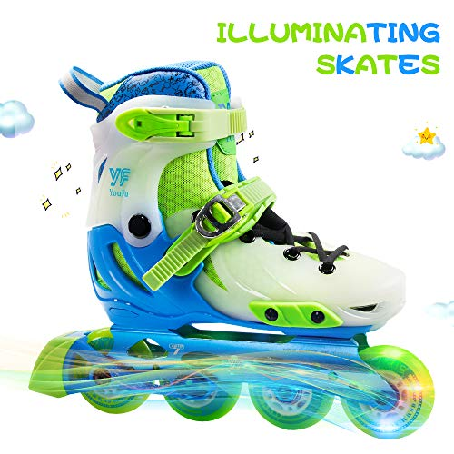 YF YOUFU Adjustable Inline Skates, Children Inline Skates with Light up Wheels, Roller Skates for Boys, Safe Durable Outdoor Beginner Illuminating Roller Skates for Kids -
