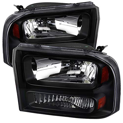 CARPARTSINNOVATE For 99-04 F250/F350 Super Duty 00-04 Excursion Pickup Black Clear 1PC Headlights (Duty Pickup 04 F350)