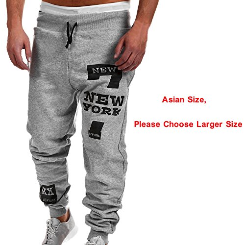 Ankola Men's Running Casual Trousers Pants, Mens Letter Print Jogger Tracksuit Running Sport Pants Sweatpants Trousers Plus Size (XL, Gray) by Ankola