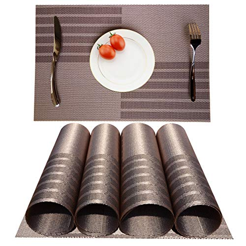 Placemats Heat-resistant Dining Table Place mats Anti-skid Washable PVC Kitchen Table Mats By KOKAKO ,Set of 4(Coffe+Silver)