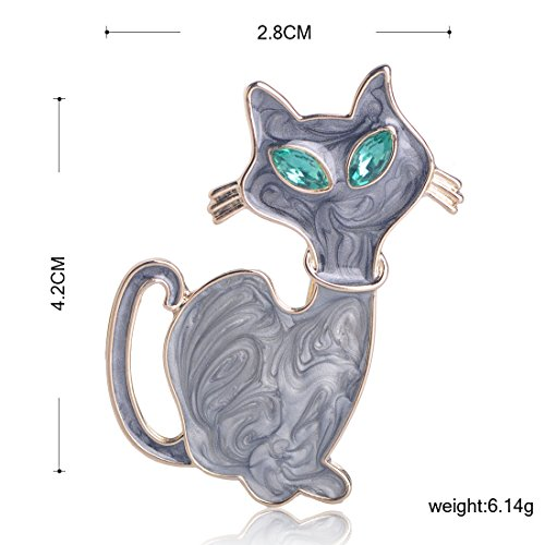 MECHOSEN Fashion Blue Eyes Leopard Cat animal Brooches Pins For Sweater girl Collar Bag Accessories Gold Color Clips Enamel Women Jewelry by MECHOSEN (Image #1)