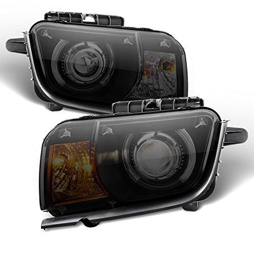 [Black Smoke] 2010 2011 2012 2013 Chevy Camaro LED Halo Projectoer LH + RH Halogen Type Headlights Camaro Halo Headlights