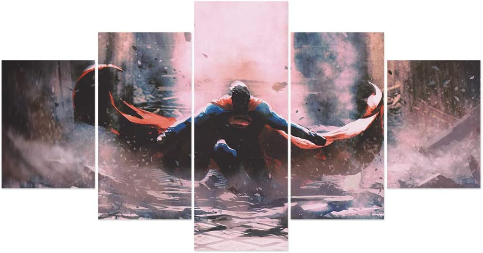 FUNHUA Superman Poster Wall Art 5 Pieces DC Superman Painting HD printed on Canvas for Boy Room Decor Fans Gift (No Frame)