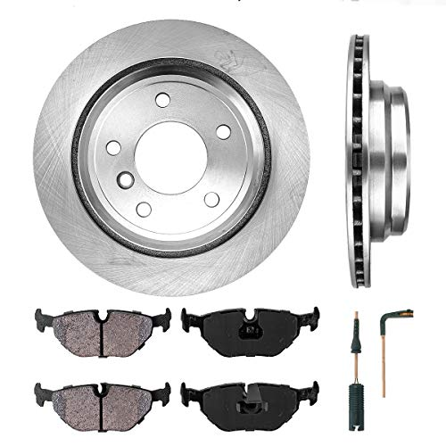 [ E39 ] REAR 298 mm Premium OE 5 Lug [2] Brake Disc Rotors + [4] Ceramic Brake Pads + Sensors + Hardware