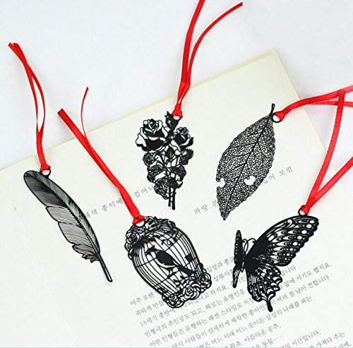 Cute book mark Metal bookmark cardboard envelope bag for Teachers day gift black Feather bookmark ((Butterfly,Leaf,Flower,Feather,Bird Cage)