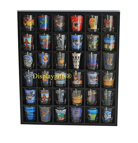 Wood Shot Glass Wall Curio Display Case Cabinet, No Door
