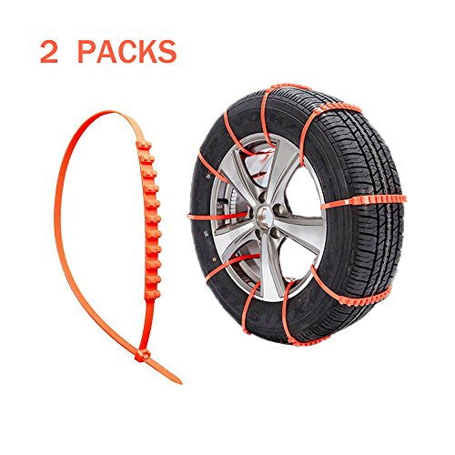 Top-spring Protable Emergency Traction Aid An-ti Slip Chain, Emergency Thickening Anti-Skid Tire Chains for most Car,Suv track (2 Packs)
