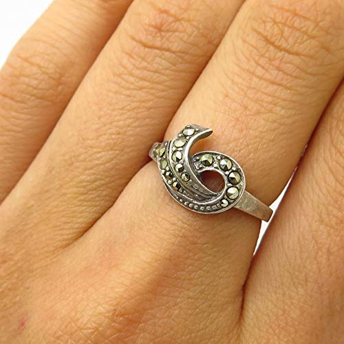 VTG Signed 925 Sterling Silver Real Marcasite Gem Abstract Design Ring Size 6 Jewelry by Wholesale Charms