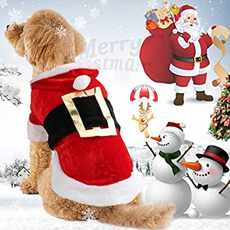 Idepet Nuevo traje de perro de Santa Navidad Algodón Ropa para mascotas Abrigo con capucha de invierno Ropa para perros Ropa para mascotas Chihuahua ...