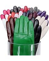 MATSU Simple Sytle Women Winter Warm Lambskin Leather Gloves 7 Colors M9022