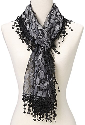 Women's lightweight Feminine lace teardrop fringe Lace Scarf Vintage Scarf Mesh Crochet Tassel Cotton Scarf for Women,One Size,Black & Gray 21 ()
