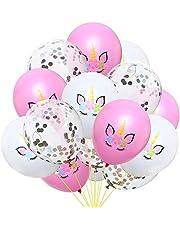 حزمة بالونات بتصميم لطيف على شكل وحيد القرن بألوان مبهجة من مطاط اللاتيكس لزينة حفلات عيد ميلاد للأطفال من 15 قطعة في الحزمة الواحدة