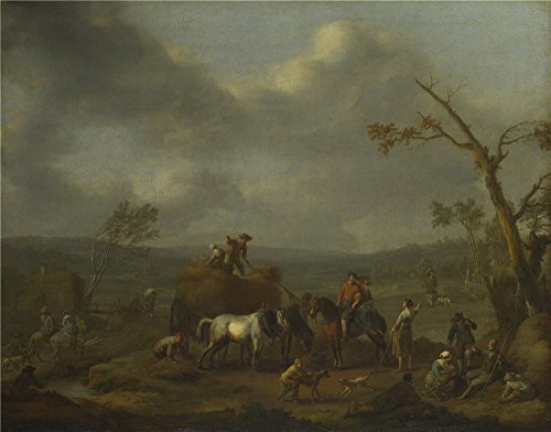 Galleon - 'Jan Lingelbach Peasants Loading A Hay Cart ' Oil Painting