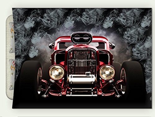 Custom Flannel Throw Blanket Classic Old Cars Decor Collection Vintage American Hot Rod Roadster With Smoke Background Race Art Pictur Autumn Winter Warm HD Digitals Print Blanketry, 59