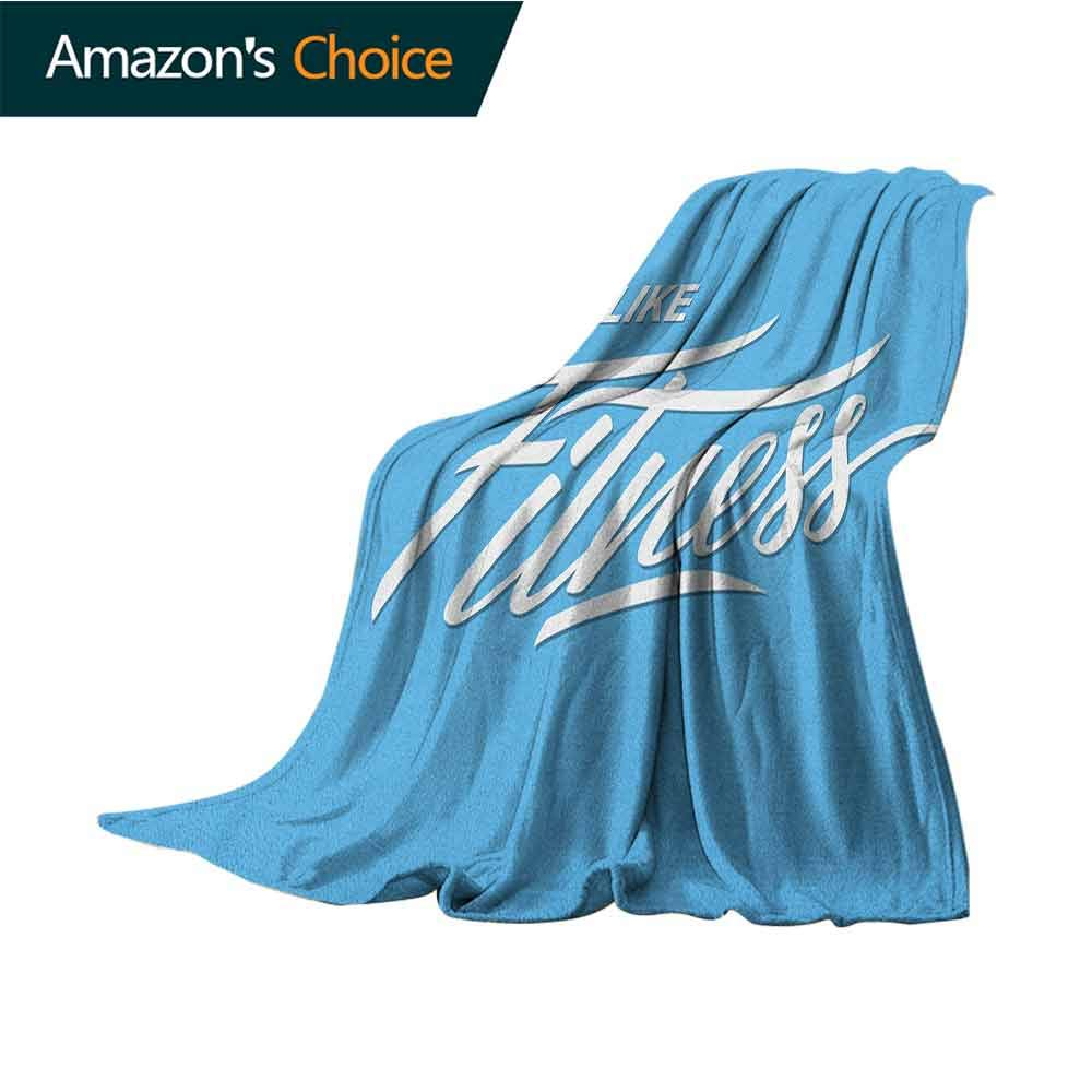 Fitness Personalized Baby Blanket,I Like Fitness Sports and Work Out Athletic Lifestyle Theme Exercise Health Warm Blanket for Autumn Winter,70'' Wx90 L Pale Blue White