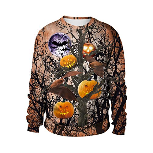 Happy Halloween Lover (OVERDDES Mens Scary Hoodie Casual Halloween Lover 3D Print Party Long Sleeve Top Blouse)