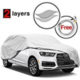 #6: KAKIT 2 Layers Car Cover SUV Cover - Breathable Windproof All Weather UV Protection Covers, Water Resistant Dustproof for Summer Car Covers, Free Windproof Ribbon & Anti-theft Lock, Fits 170