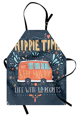 Ambesonne Hippie Apron, Hippie Motivational Inspiring Words with Flowers Dots and Drop Like Ornaments Print, Unisex Kitchen Bib Apron with Adjustable Neck for Cooking Baking Gardening, Slate Blue