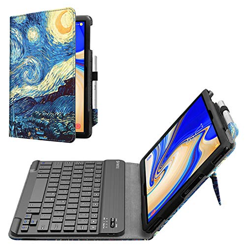 Fintie Folio Keyboard Case for Samsung Galaxy Tab S4 10.5 2018 Model SM-T830/T835/T837, Premium PU Leather Stand Cover with Removable Wireless Bluetooth Keyboard, Starry Night