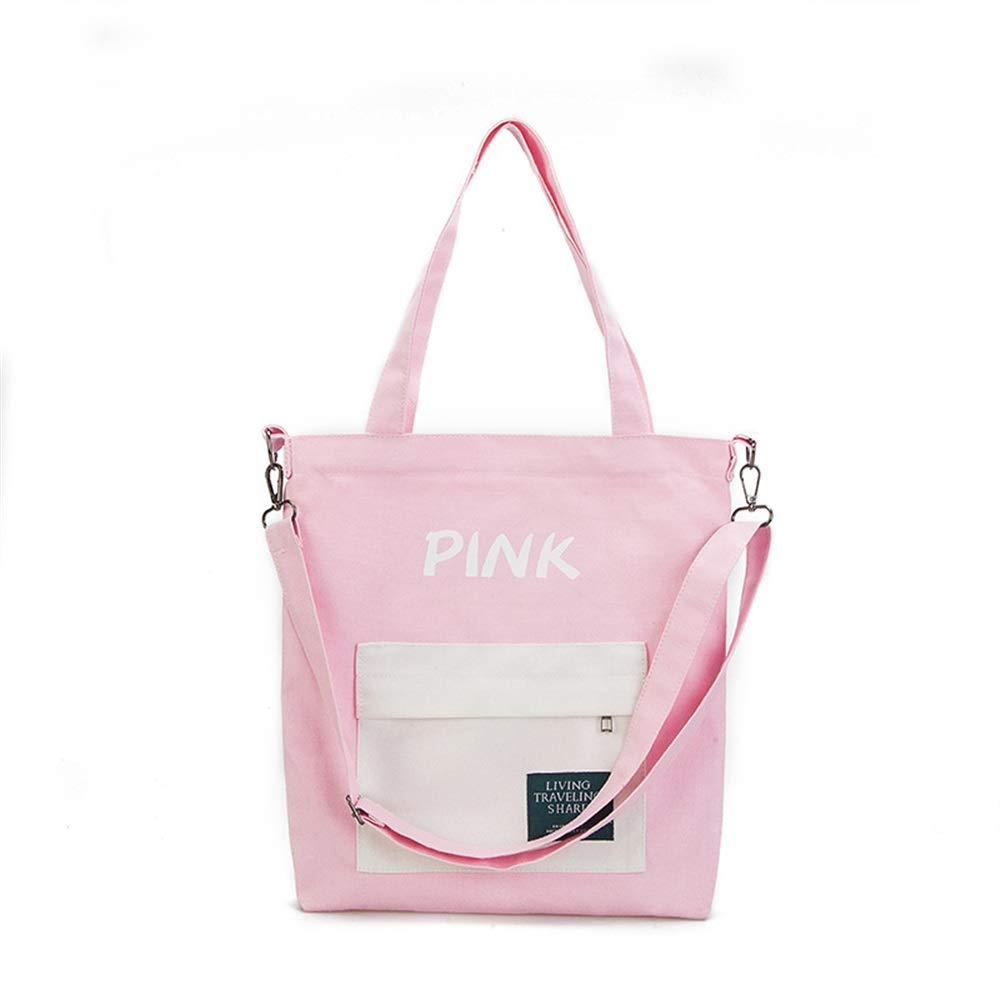 WHXYAA Ladies Canvas Crossbody and Shoulder Tote Bag Large-Capacity Shopping Beach Bag (Pink) Simple Atmosphere