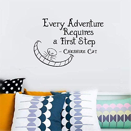 Falaog Wall Sticker Quote Wall Decal Funny Wallpaper Removable Vinyl Quotes Cheshire Cat Every Adventure Requires A First Step Home Decor