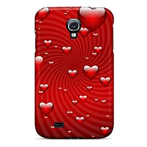 New Premium Flip Case Cover Red Hearts Skin Case For Galaxy S4
