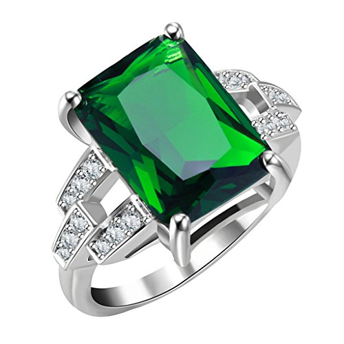- MagiDeal Handmade Glitter Gorgeous Green Rectangle Glass Gemstone Ring with Rhinestone Embeded Copper Ring Base Jewelry for Party - 57mm