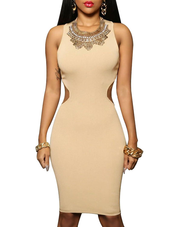 Cfanny Women's Cut Out Back Sexy Bodycon Dress Clubwear