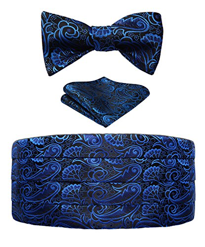 Blue Silk Cummerbunds - Men's Floral Paisley Silk Cummerbund & Self Bowtie and Pocket Square Set,Blue&black,One Size