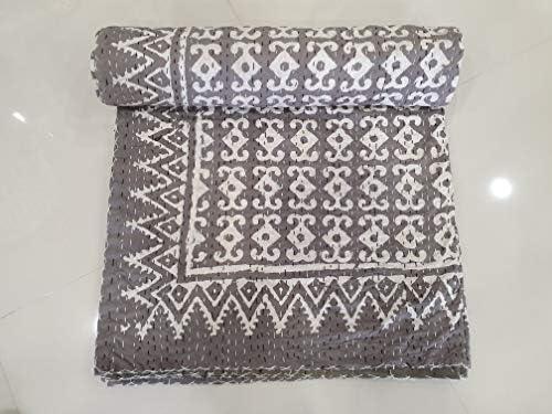 Traditional Jaipur Vintage Kantha Couette Coton Jeter Couvre-lit bohème literie Gudri Couvre-lit intérieur décor à la Maison Cadeau Kantha Cousu Couverture (90 x 108 inches)