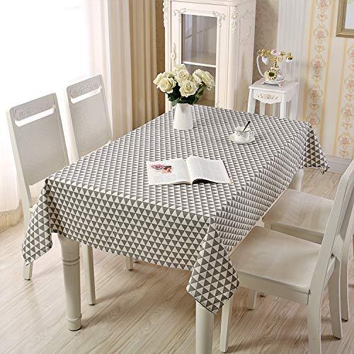 Pridesong Mantel de algodon poliester, Estilo Rural Simple, hogar, Rectangular, se Puede Utilizar para mesas de Comedor, mesas de cafe, etc. Triangulo Gris 140X160CM