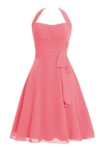 Snowskite Women's Halter Knee Length Chiffon Homecoming Prom Bridesmaid Dress